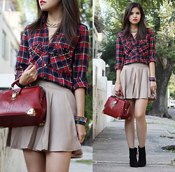 Adriana Gastélum - Romwe Gold, Choies Studded Pocket Plaid, Chic Wish Oxblood Doctor Style, Chic Wish Pleated - The first one