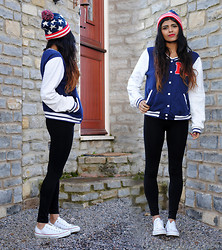 Kavita D - H&M Baseball College Sweater, Converse Low Top White, American Bobble Hat - You're Fresh To Death.