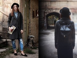 Ksusha Handukova - H&M Hat, Topshop Denim Shirt, Zara Boyfriend Jeans, Zara Oversized Coat, Corso Como Suede Loafers, Asya Malbershtein Leather Backpack - Death is safe, life is not safe