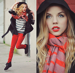 Ruby June - Gap 1969 Legging Cords, Gap Cozy Stripe Scarf, Gap Sherpa Booties, Romwe Hooded Black Trench - SHARE WARMTH