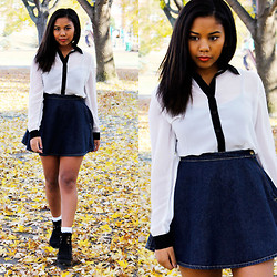 Macailah Maxwell - Nasty Gal Black And White Blouse, American Apparel Dark Denim A Line Skirt, H&M Black Wedges - Simple and Lovely