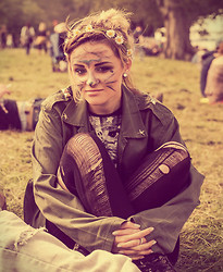Iris Maher - Primark Flower Hair Piece, Primark Ripped Tights, Vintage Army Jacket - Electric Picnic