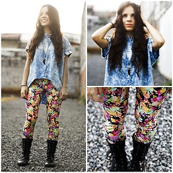 Mariel Vargas - Rochel Shirt, Rochel Leggins, Blvd Boots, H&M Necklace - Flowers and Sunset