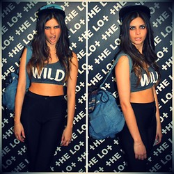 THE LOT ♥ - Self Service Wild Crop Top Bralet, Self Service Disco Pants, The Lot Tribal Denim Backpack, 2bop 5 Panel Leather Flat Peak Denim Cap - She's a WILD one
