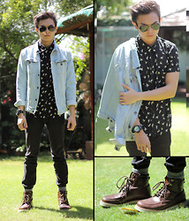Mikyle Quizon - Folded & Hung Button Up, Zara Denim Jacket, G Shock Gold & Black, Forever 21 Brown Boots - Denim X Print