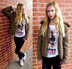Ania Zarzycka - Converse Sneakers, Orsay Jacket, Tally Weijl T Shirt, Tally Weijl Pants With The Holes - Burn it down