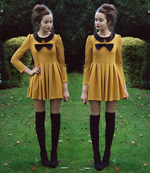 Imogen De Souza - Dress, Faith Wedges, Primark Socks - Mustard and Bow