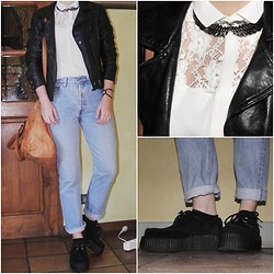 M∆non . - Bizbee Leather Jacket, Zara White Shirt, Second Hand Jeans, Pieces Bag, Zara Accessories - Down the road