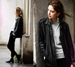 Ebba Zingmark - 2hand Jacket, Earring, Sarenza Boots, Wandering Minds Sweater - JUST AROUND THE CORNER