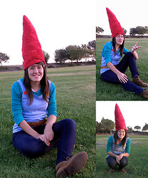 Renee Schmee - Diy Fuzzy Red Gnome Hat, Diy Big Buttoned Overall Shirt, Green Thermal Shirt, Forever 21 Brown Belt, Brown Sand Booties, Blue Skinny Jeans - Gnome In The Yard