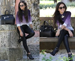 Daniela Ramirez - Chictopia Cat Eye Sunglasses, Beginning Boutique Silver Necklace, Beginning Boutique Leatherette Leggings, Bcbg Studded Ankle Booties, Guess? Watch, Oasap Ombre Blouse, Mybag Bag - Purple ombré