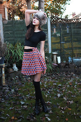 Sophie Bailey - Fairground Tika Skirt, Primark Over The Knee Socks, Office Kick Ass Boots, Primark Faux Fur Hat, H&M Silver Bangle, American Apparel Crop Top - Fineshrine
