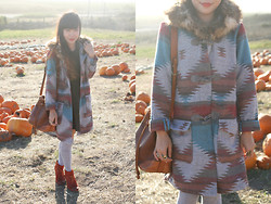 Toshiko S. - C/O Bb Dakota Durango Coat, Topshop Textured Dress, Thrifted Vintage Leather Bucket Bag, Jeffrey Campbell Pony Up - Hello Pumpkins!