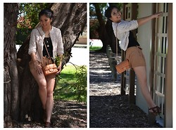 Cross Couture - Asos Darling, Bardot Shorts, Chanel Mini Flap In Lamb Skin, Sportsgirl Shoes - Hang in there!
