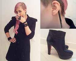 Jack Valentine - Guess? Knee Long Vest, Lady Collection Earcuff, Jaime Mascaro Shoes - Fade To Black