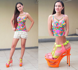 Janna Robles - Love Bustier, Sophisticat Shoes Cut Out Heels, Hong Kong Shorts - Colorful