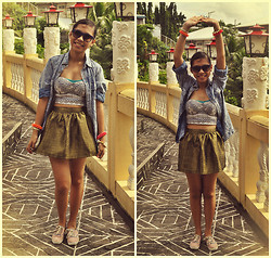 Christelle Mae Dacalus - Keds Floral Sneakers, Wagw Gold Skirt, Charles & Keith Sunnies, Lovehumbly Shop Midrib Corset, Acid Wash Buttondown - A Little Bit Of Tummy :3