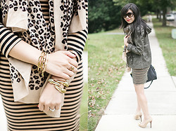 Melanie Y - Target Striped Dress, Stella & Dot Leopard Scarf, Ebay Claw Cuff, Bcbg Knot Cuff, Charlotte Russe Jacket, Michael Kors Nude Suede Pumps, Asos Black Bag, Gucci Sunnies, Stella & Dot Leaf Ring - Fall Neutrals: Stripes & Leopards