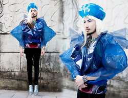 Andre Judd - Jan Garcia Couture Plastic Biker Jacket, Nici Harmonic By Kainam Leung Couture Headpiece, Shark Print Tee, Spiked Cuff, Joel Escober Bejewelled Neckpiece - ATLANTIS