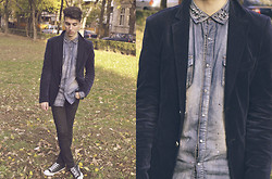 Mike M. - Zara Painted Denim Shirt, Topman Blazer, Cheap Monday Super Skinny Jeans, Converse Chuck Taylor - Living In Another World