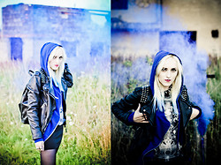 Saba D - Zara Leather Jacket, Pull & Bear Leather Backpack, Only Cobalt Hoodie, Bershka Dress, Sh Collar, River Island Cross Ring - Bloo