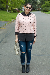 Gabriela Monsanto - Tea And Tulips Sunglasses, Equipment Blouse, Forever 21 Sweatshirt, American Eagle Jeans, Balenciaga Bag, Topshop Boots - Pink Polka
