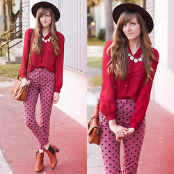 Steffy Degreff - Tea And Tulips Blouse, Sheinside Heart Pants - Merlot hearts.