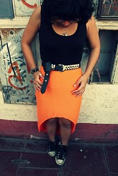 Ana Iherina - Studded Belt, Neon Skirt, Top, Converse Sneakers - Nope, I can't think of anything