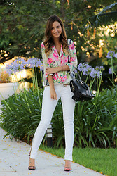 Luisa Accorsi - Elizabeth & James Shirt, Yves Saint Laurent Bag, Zara Skinny Jeans, Christian Louboutin Shoes - B&W + Floral