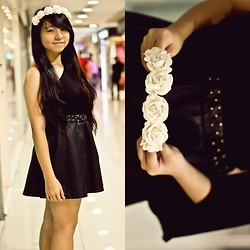 Mirabelle K - Sleeved Toga, Leather Studded Skirt, Floral Crown - Studs & roses