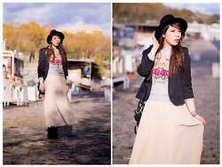 Jessica D - Kenzo Sweater, Sandro Skirt, Zara Hat, Topshop Blazer - The docks
