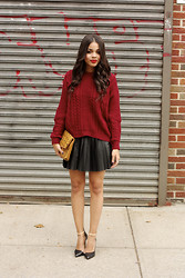 Erica Lavelanet - Goodnight Macaroon Burgundy Sweater, Goodnight Macaroon Pleated Leather Skirt, Zara Two Tone Pointed Heels, Mcm Vintage Clutch - Oversized Knits