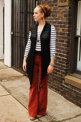 Stacey L - Black Crocheted Vest, H&M Striped Shirt, Anthropologie Rust Red Corduroy Pants - Procrastination