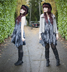 Molly McIsaac - Crash And Burn Apparel Tea Stain Dress, Naughty Monkey Mix Master Spiked Boots, Saguaro Gray Suede Moto Jacket, H&M Black Bowler - I Vill Drink Yer Blawd