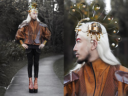 Andre Judd - Van Cleefus Copper Headpiece With Pearls, Jan Garcia Copper Silk Taffeta Couture Jacket - INTERSTELLAR  COPPER KID