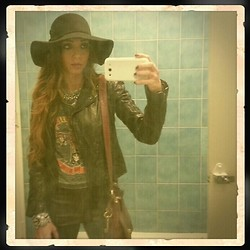 Kristy Araujo - H&M Hat, Rachael Roy Jacket, H&M Tee, H&M Faux Leather Pants, Urban Outfitters Cuff, Fossil Bag - L E A T H E R E T T E