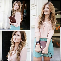 A TRENDY LIFE - Blouse & Shorts Bdba, Menbur Bag - PINK & SWEET GREEN