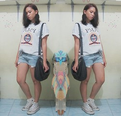 Lesly D. - Dad's Pma Shirt, Diy Cut Off Jean Shorts, Converse High Cut Chucks, Gifted Black Sling Bag - PMA Shirt