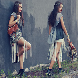 Alana Ruas - Koogul Fringe Skirt, Sugarlips Top, Oasap Creepers, Choies Rivet Hair Bands - I got that magical potion