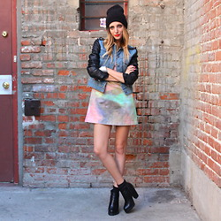 Amber Saylor - Insight Watercolor Dress, Jeffrey Campbell Platform Bootie - Heat Stroke.