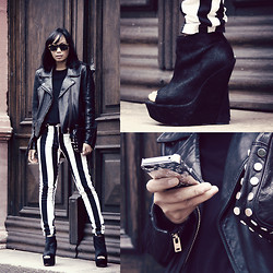 Anjelica Lorenz - Acne Studios Jacket, Topshop Wedges, Marc By Jacobs Iphone Case, Topshop Clutch, Motel Jeans - BEETLEJUICE.