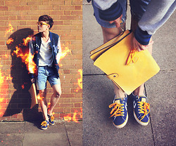 Dany Nguyễn - Vintage Clutch, H&M Mustard Glasses, River Island Self Cut Short, H&M Baseball Jacket, Topman Stripped Poket T Shirt, Converse Star Player Ev - Bonfire