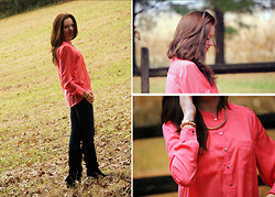 Elena Fay - H&M Coral Blouse - Coral Blouse