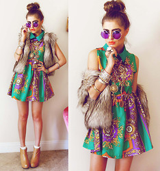 Bebe Zeva - Romwe Retro Baroque Print Dress, Chic Wish Faux Fur Vest, Jeffrey Campbell Vienna Wedges - HAPPY GO LUSH