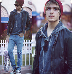 Adam Gallagher - Ambig Beanie, Crossroads Acid Wash Hoodie, Viparo Jacket, Patch Jeans, Hightops - Shopping @ Victoria Gardens