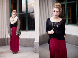 Laura Jude Hathaway - Uo Infinity Scarf, Uo Maxi Skirt, Forever 21 Military Jacket, Forever 21 Sweater/Blouse - Election Style