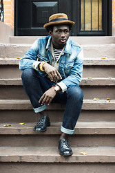STEVEN ONOJA - Obey Hat, Zara Denim Jacket, J. Crew Jeans, Topman Cardigan, Florsheim Shoes Shoe - SUPERSTITION