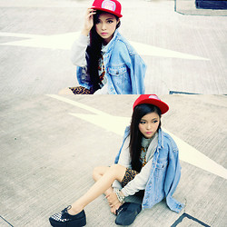 Ceci No7 - Joy Rich Grey Sweater, Diy Cap, Vintage Denim Jacket, Leopard Dress, Jeffrey Campbell Stinger Platform - Lovers gonna love