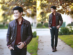 Peter Adrian - Forever 21 Leather Jacket, Rhythm Corduroy Shirt, Forever 21 Skinny Black Jeans, Cherry Boots - Baby's Good to Me