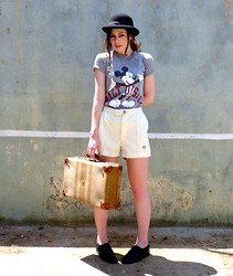 Katie Espania - The Stellar Boutique Vintage Hat, The Stellar Boutique Vintage T Shirt, Fred Perry Vintage Shorts, The Stellar Boutique Vintage Suitcase - Long distance romance